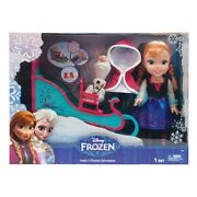 Disney Frozen Toddler Anna Doll With Sleigh/bed And Olaf W/bench New Lot