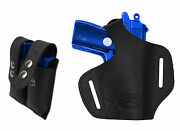 New Barsony Black Leather Pancake Gun Holster + Mag Pouch Smithandwesson 22 25 380