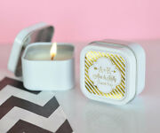 Personalized Gold Silver Foil Square Round Candle Tin Anniversary Wedding Favor