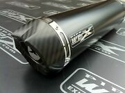 Suzuki Dl 1000 V-strom Pair Of Black Round Carbon Outlet Exhausts Silencers