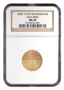 2006-s 5 Ngc Ms70 San Francisco Old Mint - Mint State Gold Commemorative Coin