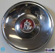And03956-and03957 Lincoln Capri Used 15 Hubcap Chrome Raised Center Red And Blue Logo