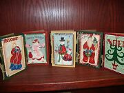 Set Of 5 - Ganz Wooden Christmas Card Decorations