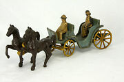 Antique Made In Usa Cast Iron Horse Drawn Buggy