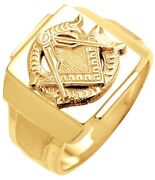 10k Or 14k Yellow Or White Gold Masonic Blue Lodge Freemason Ring