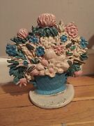 Antique Cast Iron Door Stop Small French Basket Of Flowers Original Paint