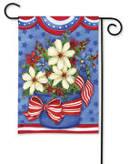 American Beauty Patriotic Flowers Pleated Fans Bow Small Banner Flag 12.5 X 18