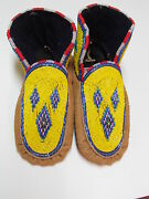 Native American Beaded Moccasins With Diamond Design 9 Inches