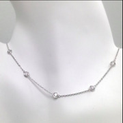 1.5 Ct Diamond By The Yard Station Necklace Round Tennis 14k Gold 16-36 W Y R