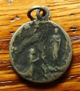 Antique Religious Medal Apparition Lady Lourdes To St Bernadette Candle Miracle
