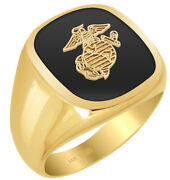 New Menand039s 10k Or 14k Gold Us Marine Corps Usmc Military Solid Back Ring