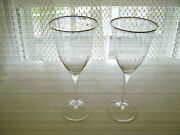 Crystal 2 Long Stem Wine Glasses Ripple Effect With Silver Trim