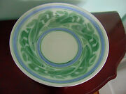 Large Hand Made Painted Signed Art Pottery Bowl with Lily of the Valley Design