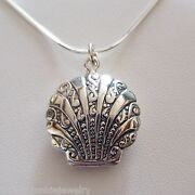 Clam Shell Locket Necklace - 925 Sterling Silver - Holds 2 Photos Beach Sea Sn