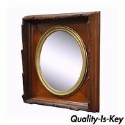 Antique Black Forest Victorian Faux Bois Carved Mahogany And Gold Gilt Mirror