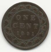 Canada, 1891, Small Date, Large Leaves, Large Cent, Bronze, Km7, Vf-xf