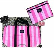 1 Victorias Secret Hot Pink Stripe Getaway Weekend Packable Bag Duffel Tote Nwt