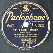 78 Record In Frame Play A Simple Melody / Silver Dollar Five Smith Brothers