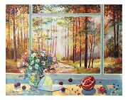 Alexander Borewko Original Oil On Canvas Window View Floral Art Into The Woods