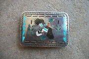 Sammy And Esther Guardian Inlay Mop Turquoise Duck Belt Buckle 1970 Sterling Zuni