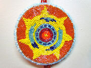 Native American Beaded Medallion Necklace Handmade 19 Inches Long Unisex