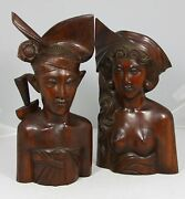 Exquisite Pair Of Balinese Suar Wood Carvings Man And Woman 12.5 High