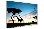 Silhouette African Wildlife Canvas Wall Art Pictures Animal Prints Framed Poster