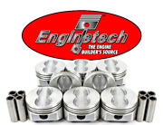 4.00 Bore Flat Top Pistons W/ Pins For Chevrolet Sbc 350 Std 020 030 040 060