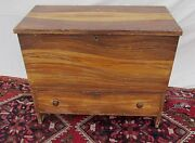 Early 19th C Hepplewhite Grain Painted Antique Pine Blanket Box / Chest Maine