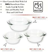 6 Set Glass Casserole Bowl Dish Lids Containers Heat Cold Microwave Oven Freezer