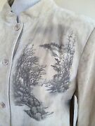 Look East Camel Tan Suede Lined Leather Painted Asian Willow Scene Womanand039s Sz L