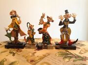 Set Of Simonelli Clown Resin Figurines On Bases Of Carrara Marble Made In Italy