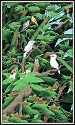 Original Balinese Painting Starlings And Sparrows Lovely 53 H X 32 W Signed