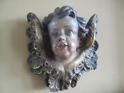 Antique Carved Painted Gilt Decorated 19th Century Putti Angel Cherub Wood Head