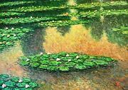 T. Denver-lily Pond-original Oil Painting On Stretched Canvas Hand Signed