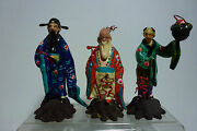 3 Chinese Antique Folk Toys Compositon Figures Using Sawdust And Wire Mark China