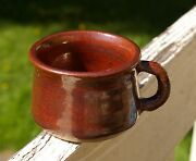 Hand Thrown Spun Dipped Copper Rust Color Pottery Art Coffee Mug Signed JKW