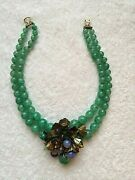 Miriam Haskell Vintage Hand Blown Jade Glass Necklace - Superb And Rare