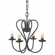 3d Wrought Iron Heart Chandelier Primitive Country 4 Candle Usa Handmade Light