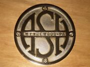Ash Wynnewood-pa Vintage Machine Nameplate/sign Chrome Plated Cast Iron