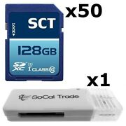 50 Pack - Lot Of 50 Sct 128gb Sd Xc Class 10 Uhs-1 Sdxc Flash Memory Card