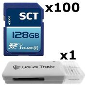 100 Pack - Lot Of 100 Sct 128gb Sd Xc Class 10 Uhs-1 Sdxc Flash Memory Card