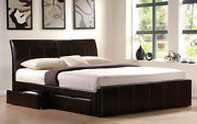 Storage Bed Mattress 4ft6 5ft 6ft Black Brown White Faux Leather 4 Drawer Bed