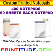 Custom Print Notepad 8.5x5.5 400 Pads-50 Sheets 70lb Opaque Print Personalized