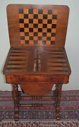 Antique Burled Walnut Inlaid Georgian Sow Belly Game Table