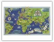 Fly The World Map Boucher 1950 Vintage Airline Travel Poster Fine Art Print