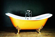 Roll Top Double Slipper Cast Iron Bath + Accessories Windsor And Buckingham W Th