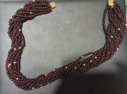 Multistring Amethyst Bead Necklace Red/gold