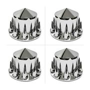 Set Of 4 10263pj 33mm Pointed Chrome Rear Axle Spiked Hub And Lug Nut Covers