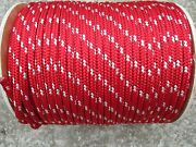 5/16 X 100and039 Sailhalyard Line Jibsheets Boat Rope Double Braid Red/ White Tr